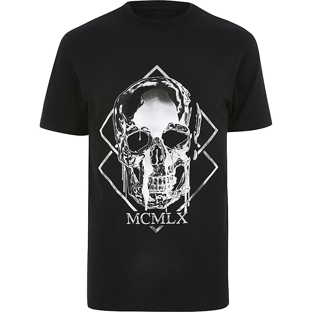 Big & Tall – Slim Fit T-Shirt mit Totenkopfprint