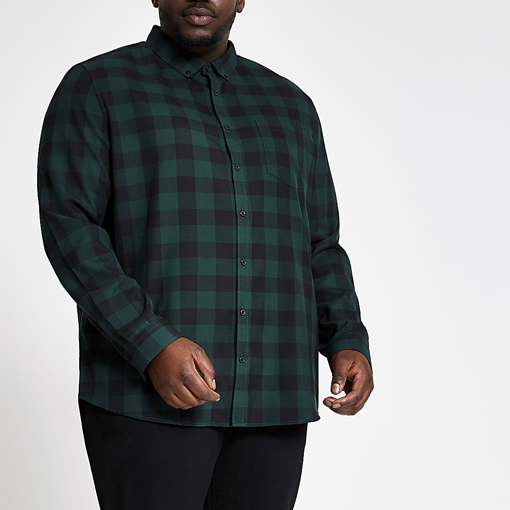 Big and Tall slim fit green check shirt