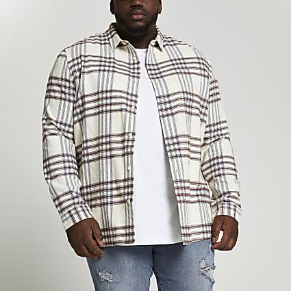 Big & Tall stone check long sleeve shirt