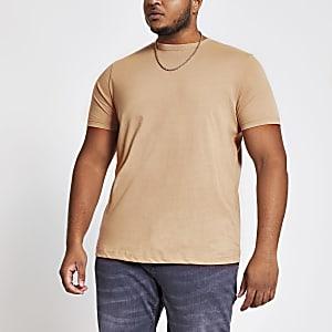 Big and Tall – T-shirt slim ras-du-cou grège