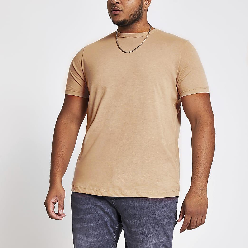Big and Tall-Kiezelkleurig slim-fit T-shirt met ronde hals