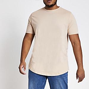 Big and Tall - Kiezelkleurig T-shirt met ronde zoom