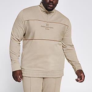 Big and Tall - Kiezelkleurige sweater met ritssluiting en visgraatmotief
