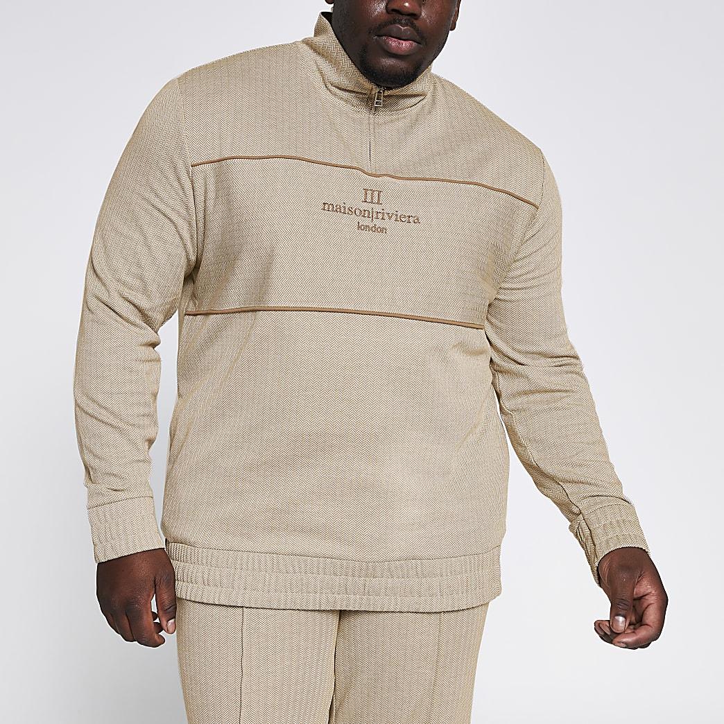 Big & Tall – Steingraues Sweatshirt mit Fischgrätmuster und Kurzreißverschluss