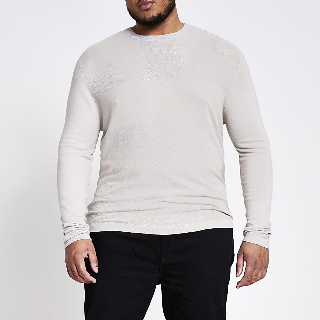Big and Tall - Kiezelkleurige gebreide slim-fit trui
