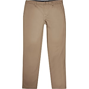 Big and Tall - Bruine slim-fit chino broek