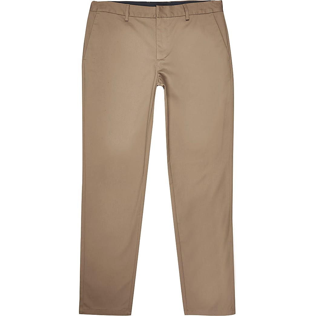 Big and Tall tan slim fit chino trousers