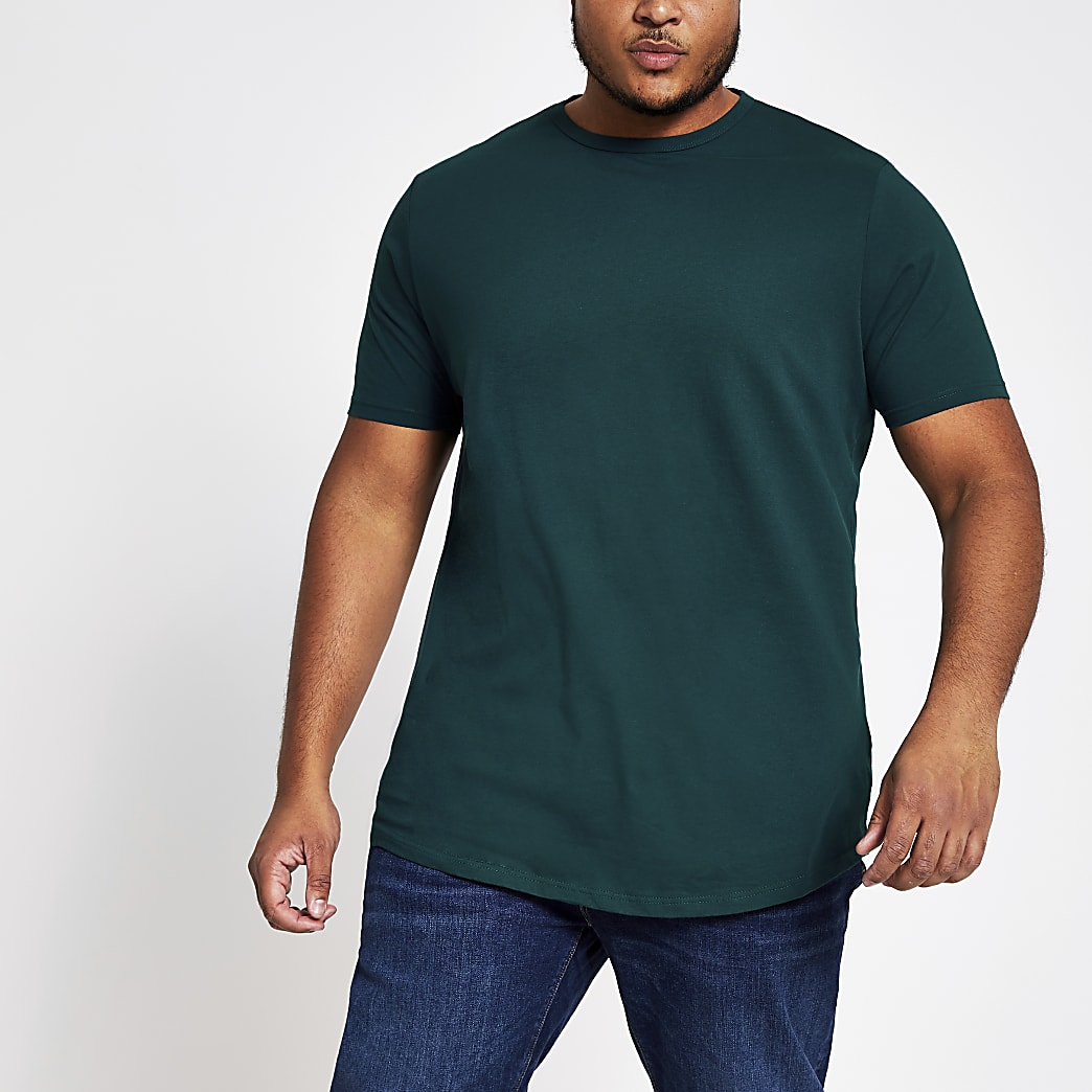 Big and Tall - Turquoise T-shirt met ronde zoom