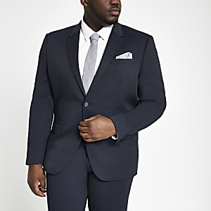 Big and Tall textured navy suit jacket