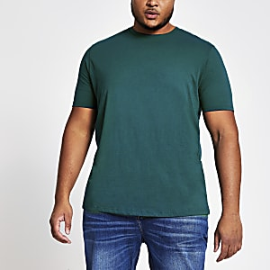 Big and Tall - Turquoise T-shirt met korte mouwen