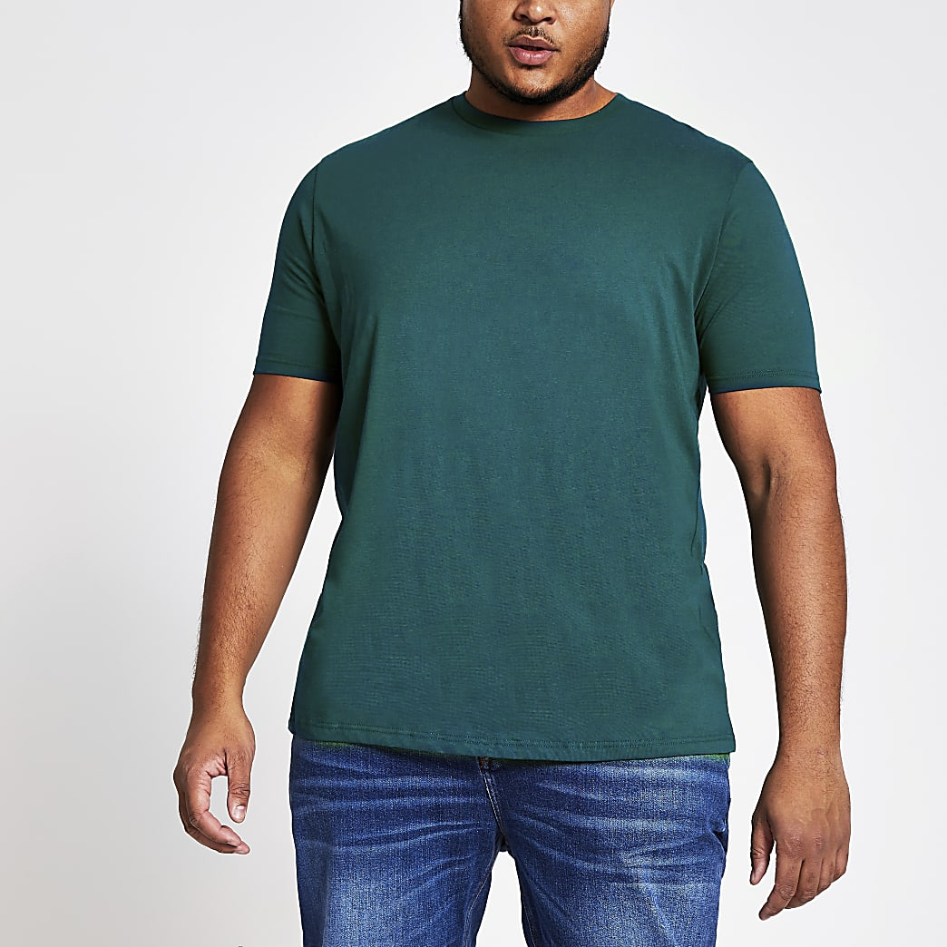Big and Tall- Turquoise T-shirt met korte mouwen