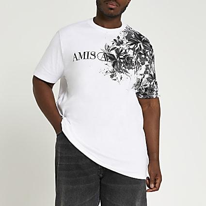 Big & Tall white floral print t-shirt
