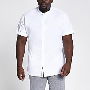 Big & Tall – Weißes Oxford-Hemd im Grandad-Kragen