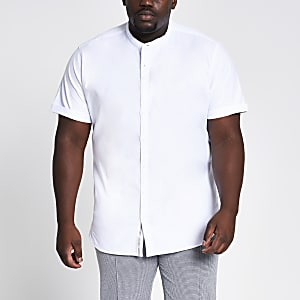 Big and Tall – Chemise Oxford à col grand-père blanche