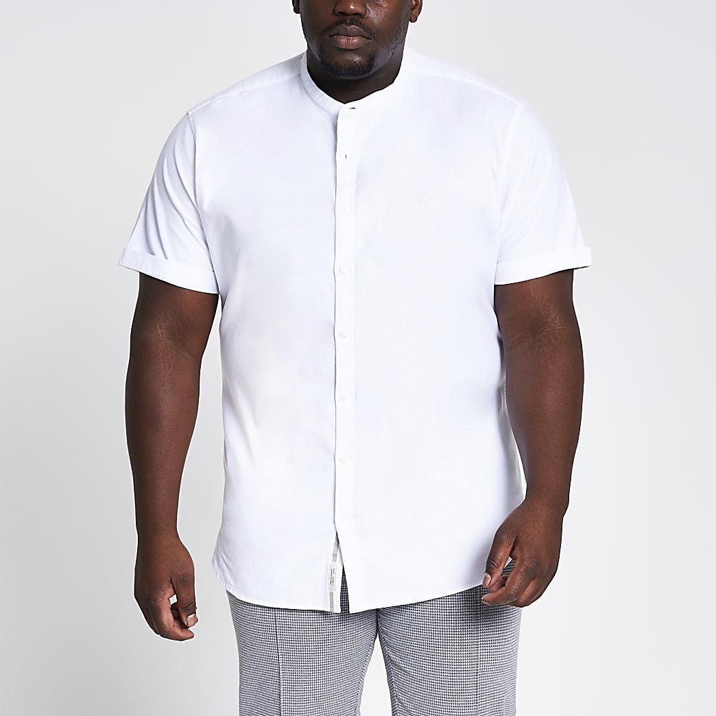 Big and Tall – Weißes Grandad-Oxford-Hemd