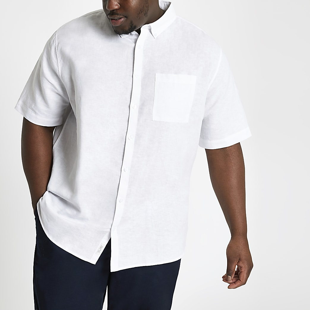 Big and Tall – Chemise en lin blanche à manches courtes