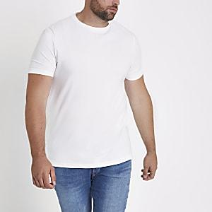 Big & Tall – Weißes Muscle Fit T-Shirt