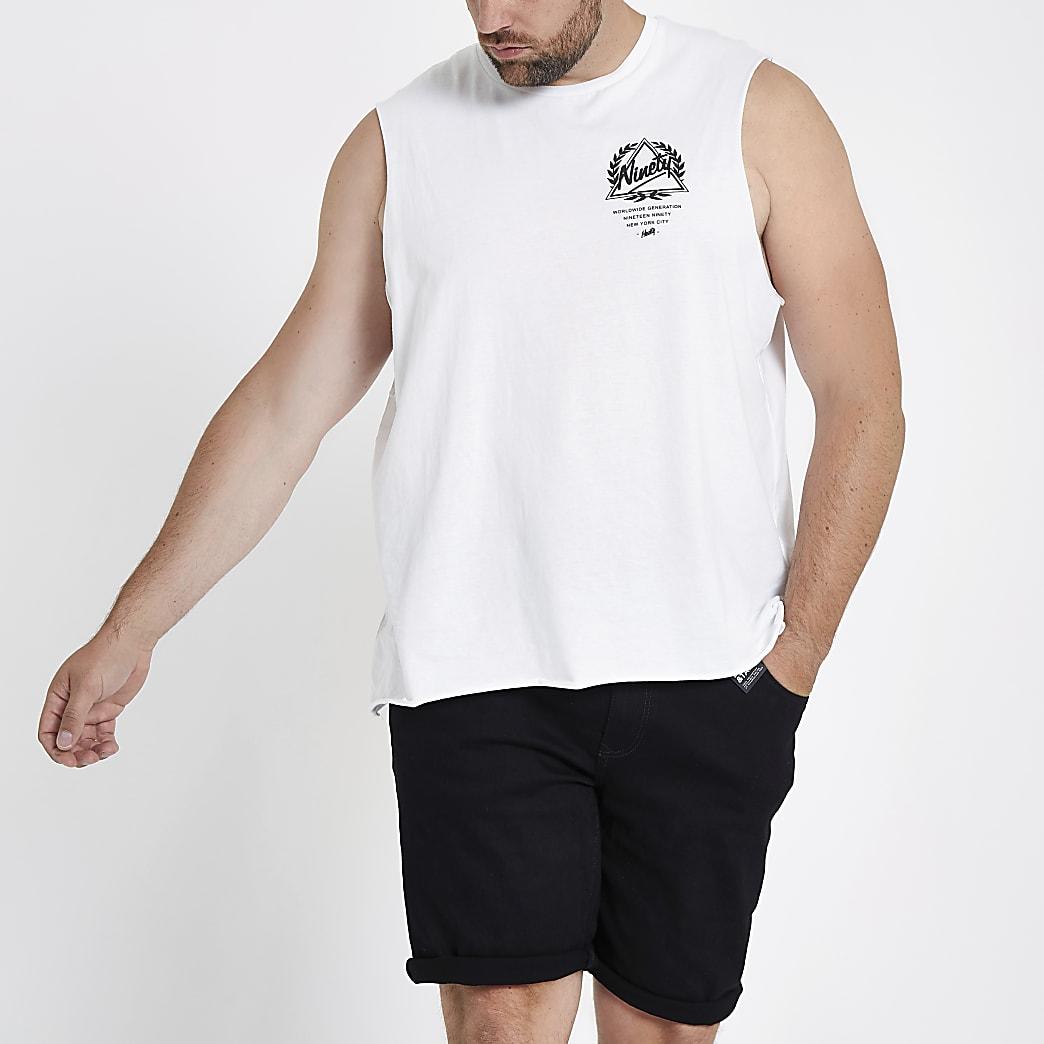 Big and Tall white 'ninety' print vest