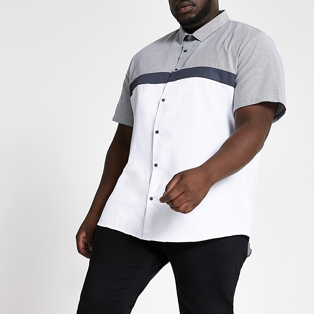 Big and Tall white slim fit blocked shirt