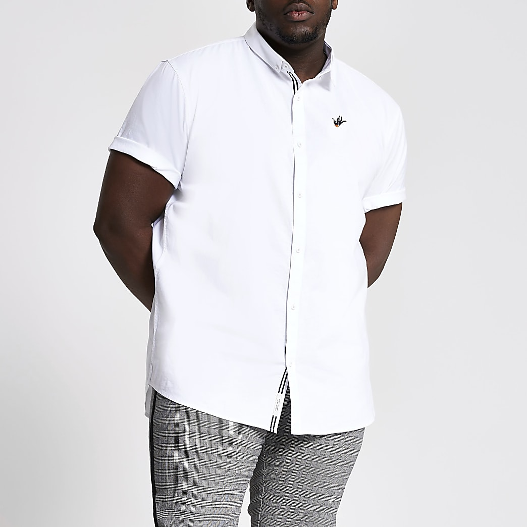 Big and Tall - Wit slim-fit Oxford overhemd