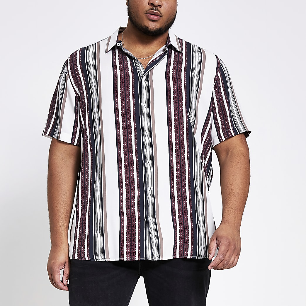 Big and Tall - Wit gestreept slim-fit overhemd