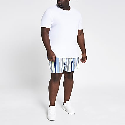 Big and tall white stripe swim shorts