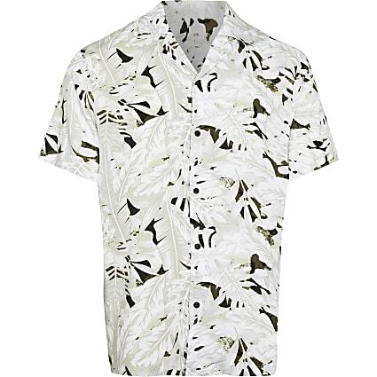 Big & Tall ecru camo leaf short sleeve shirt