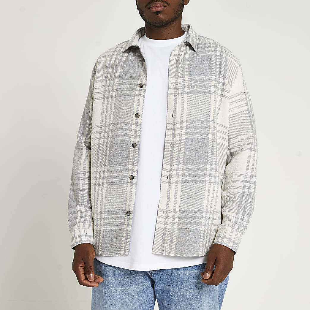 Big & Tall grey check twill long sleeve shirt