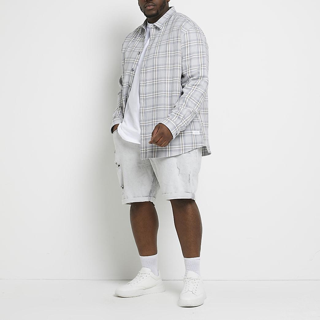 Big & Tall grey ripped skinny denim shorts
