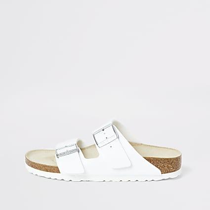 Birkenstock Arizona white two strap sandals