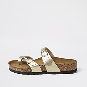 Birkenstock- Goudkleurige Mayari sandalen met teenband