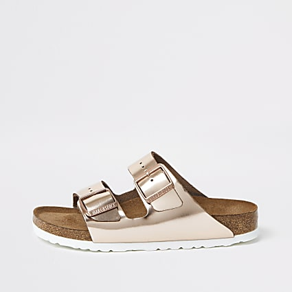 Birkenstock rose gold Arizona sandals