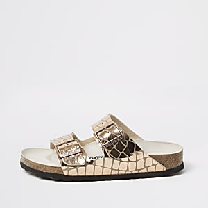 Birkenstock - Roségoudkleurige Gleam Arizona-sandaal