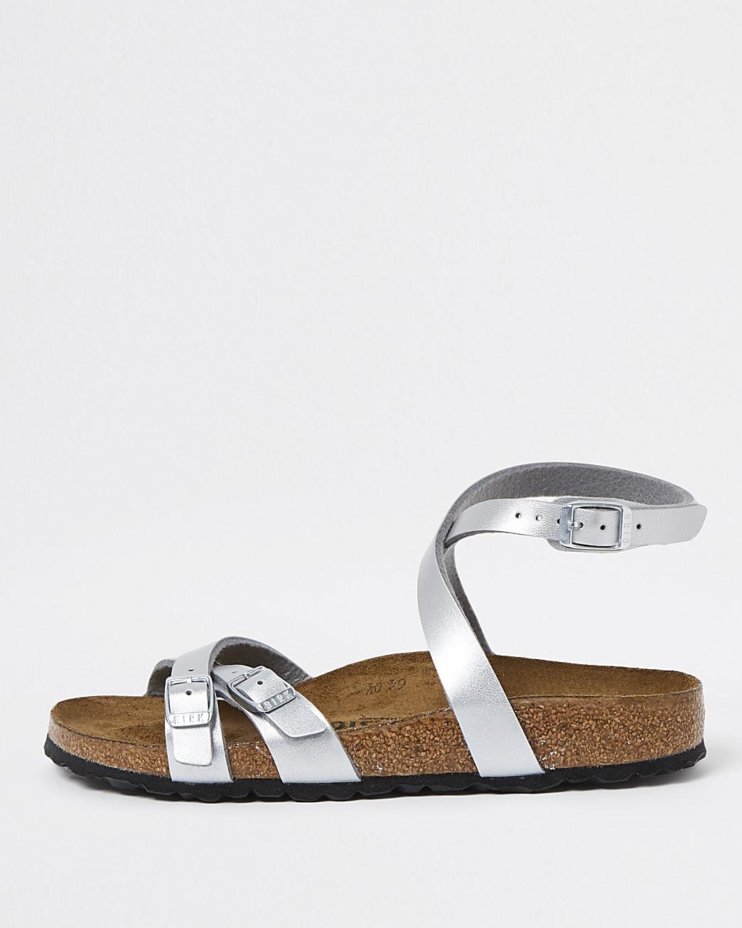 Birkenstock silver ankle tie sandal