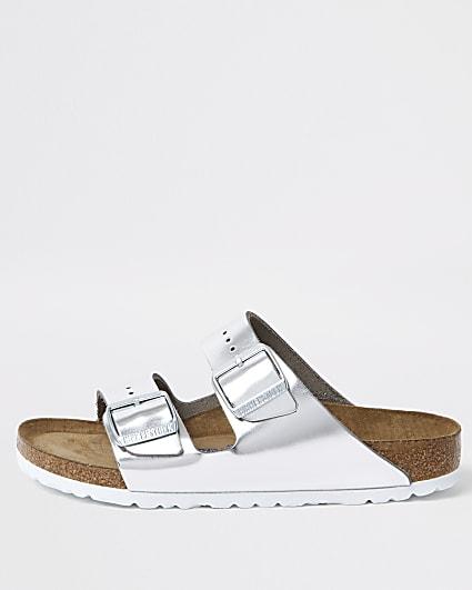 Birkenstock silver Arizona sandals