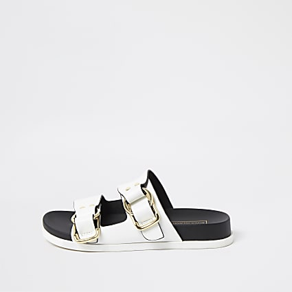Birkenstock white gold buckle strap sandals