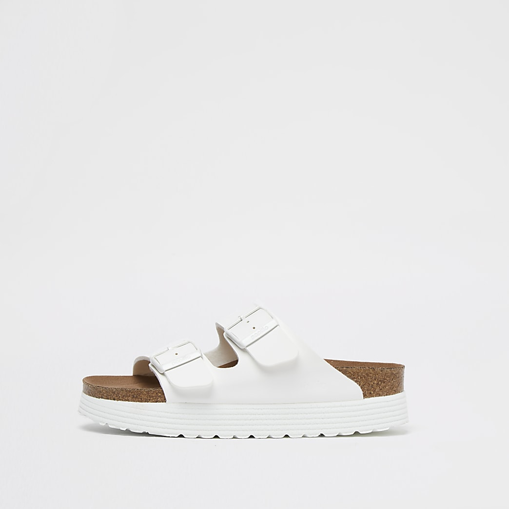 Birkenstock white vegan platform sandals