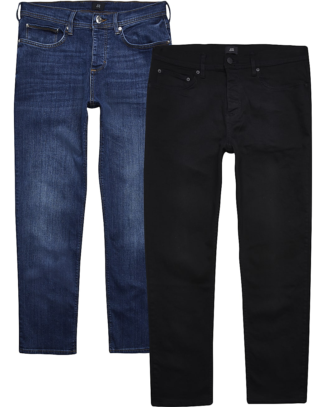 Black & blue straight fit jeans multipack