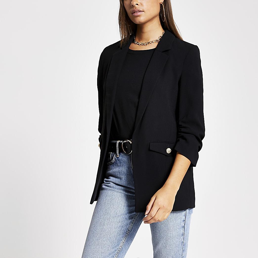 Black  button pocket ruched sleeve blazer