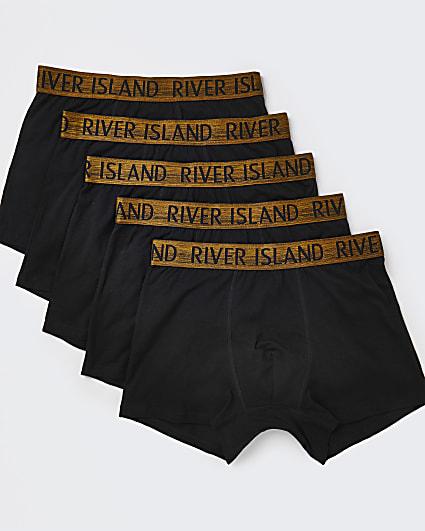 Black & gold RI trunks 5 pack