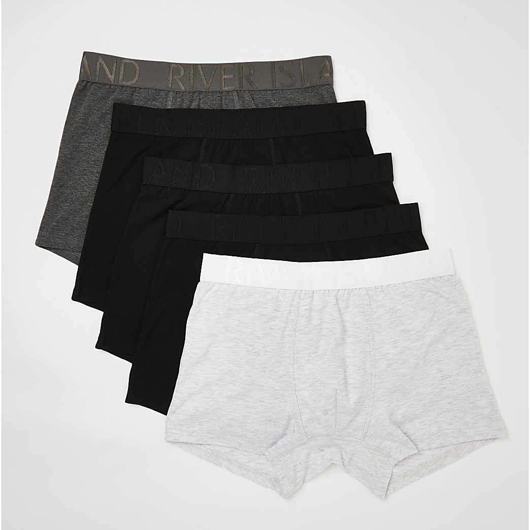 Black & grey RI trunks 5 pack