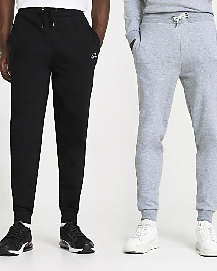 Black & grey slim fit joggers 2 pack