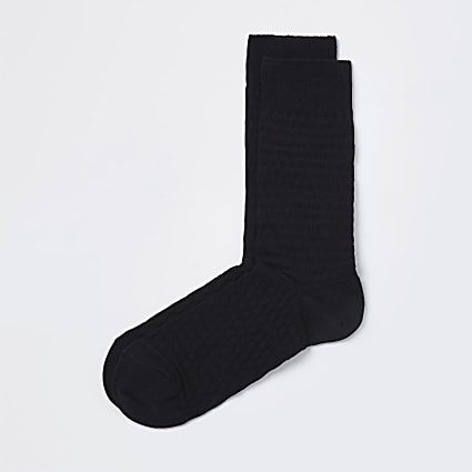 Black  honeycomb design socks 1 pair