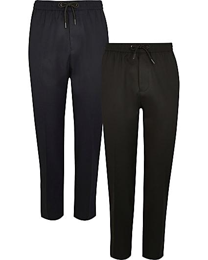 Black & navy twill slim fit joggers 2 pack