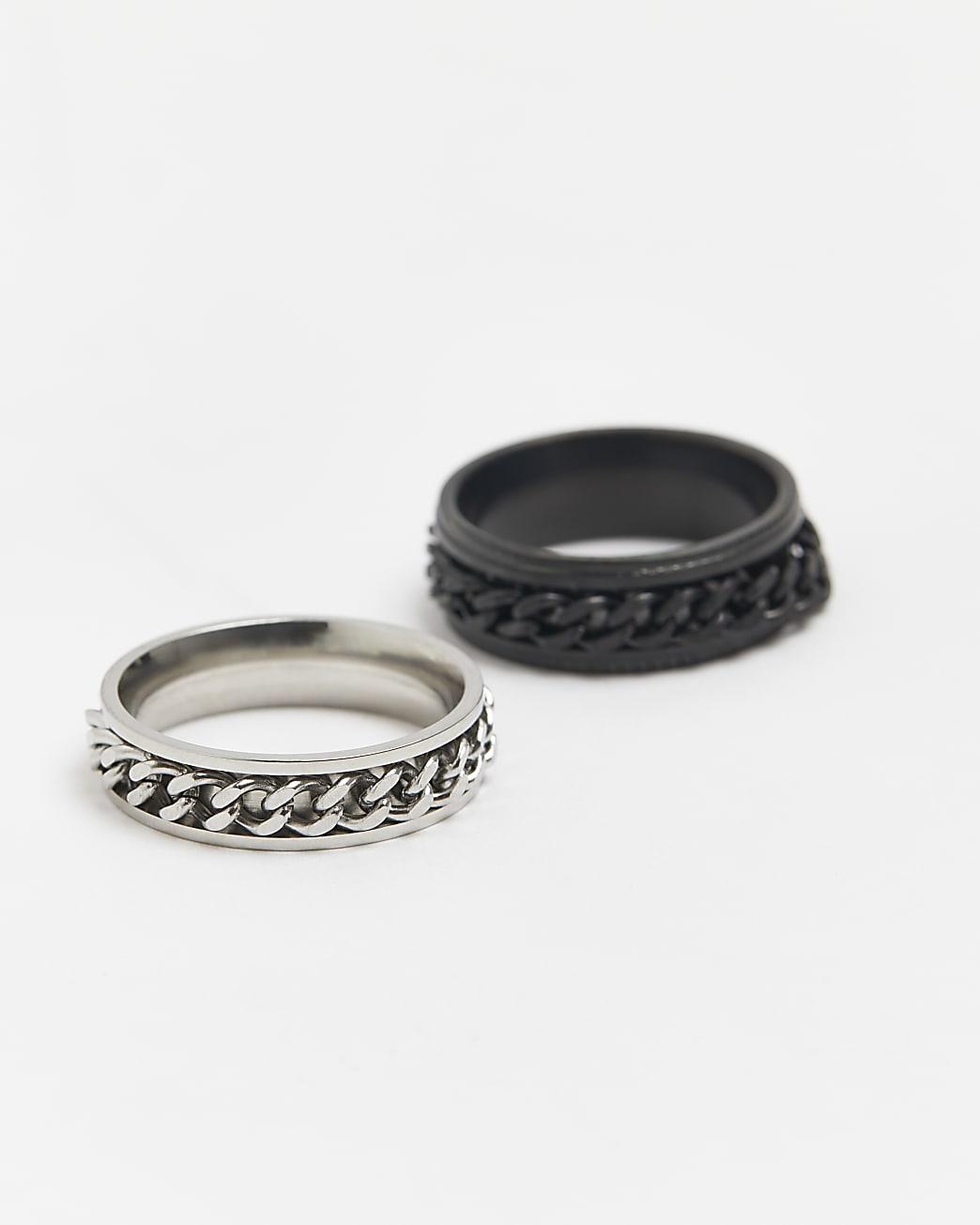 Black & silver stainless steel rings 2 pack