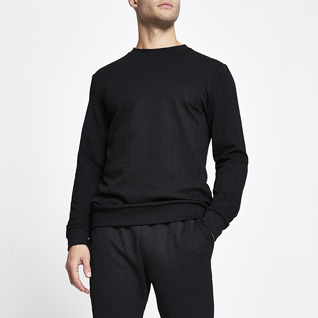 Black  slim long sleeve chevron sweatshirt