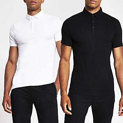 Black & white short sleeve polo shirts 2 pack