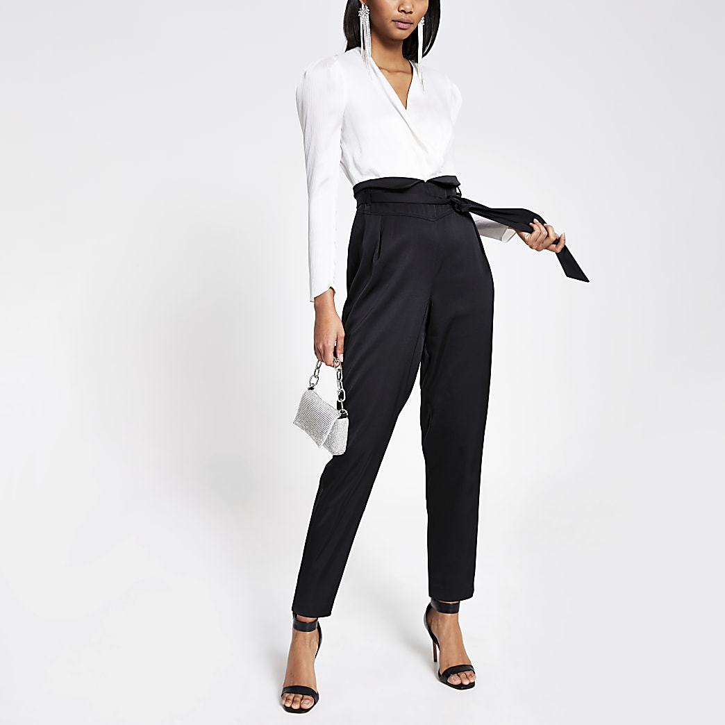 Black 2-in-1 wrap tie belted jumpsuit