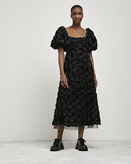 Black 3D floral midi dress
