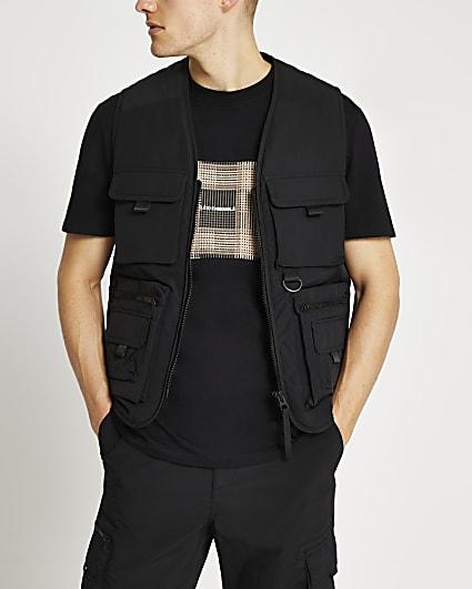 Black 4 pocket vest gilet